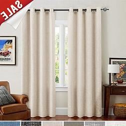 Burlap Linen Curtains for Living Room 63 inch Length Curtain
