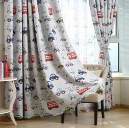 Cartoon Car Printed Blackout Curtains Thermal Insulated for
