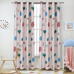 Cartoon Trees Blackout Grommet Top Curtain Drapes Kids Baby