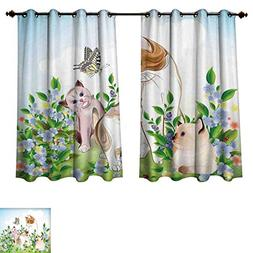 Cat Blackout Curtains Panels for Bedroom Cute Kittens in Flo