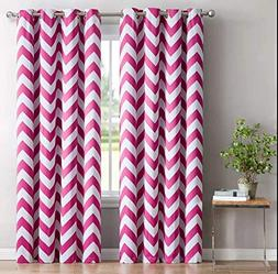 HLC.ME Chevron Print Thermal Insulated Room Darkening Blacko