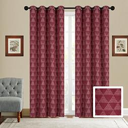 Fancy Collection Set of 2 Panels Curtain Embroidery Geometri