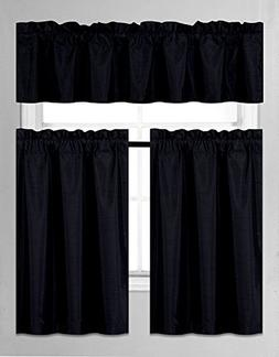 Elegant Home Collection 3 Piece Solid Color Faux Silk Blacko