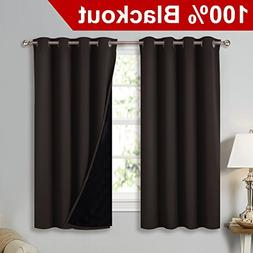 NICETOWN Complete 100% Blackout Curtain Set, Thermal Insulat