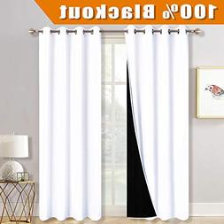 RYB HOME Total Light Block White Curtain Set for Nursery Ful