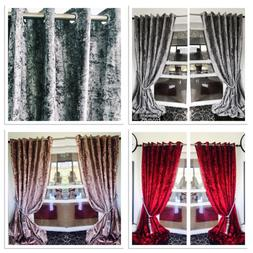Crushed Velvet curtains Eyelet Anneau Top thick long Ready M
