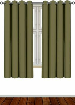 2 Panel Curtains Blackout Room Darkening Grommet Window Pane