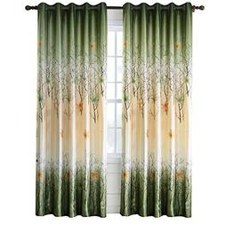 Green Leaf Tree Curtains Living Room - Anady Top 2 Panel Gre