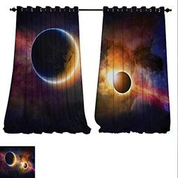 familytaste Customized Curtains Planet in Milky Way Dark Neb