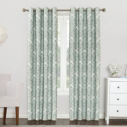 Sun Zero Cynthia Woven Damask Blackout Lined Grommet Curtain