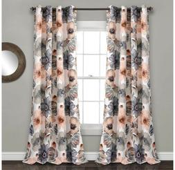 Lush Decor Leah Floral Darkening Coral and Gray Window Panel