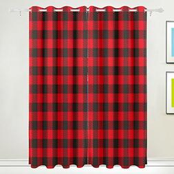 ALAZA My Daily Black Red Plaid Gingham Checkered Thermal Ins