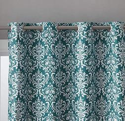 HLC.ME Damask Print 100% Full Blackout Curtains for Living R