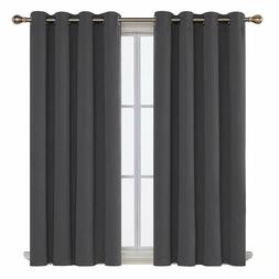 Deconovo Dark Grey Blackout Curtains Thermal Insulated Rod P