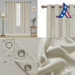Deconovo Silver Dots Printed Blackout Grommet Curtains Room
