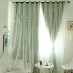 Double-Deck Cloth Blackout Star Hollow Window Curtain Living