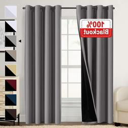 Double Layer 100% Blackout Curtains for Bedroom 84 Inches Lo