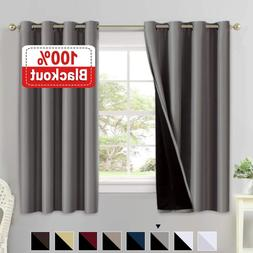 Double Layer 100% Blackout Curtains for Bedroom 63 Inches Lo