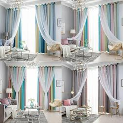 Double-layer Curtains Fantasy Starry Curtain Blackout Floor