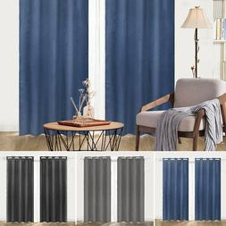 Embossed Blackout Room Darkening Grommet Window Curtains Set
