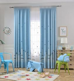 Embroidered Castle Star White Sheer Curtain Blue Shade Cloth