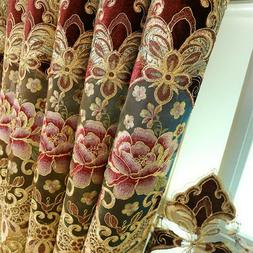 Embroidery Floral Sheer Curtains Elegant Gradient Blackout C