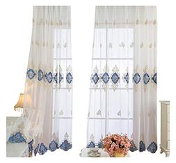 Aside Bside European Style Sheer Window Curtains Rod Pocket
