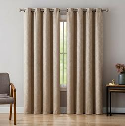 Evelyn Embossed Thermal Grommet Blackout Curtains Fabric Blo