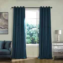 ChadMade Extra Wide Blackout Lined Premium Velvet Curtain Mi
