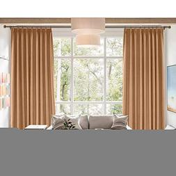 cololeaf Extra Wide Blackout Linen Curtain,Themal Insulated