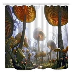 DYNH Fantasy Mushrooms Shower Curtain, Magic Nature Forest P