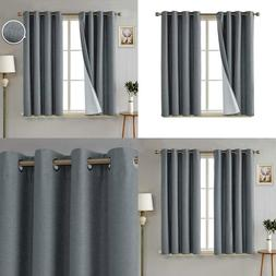 Faux Linen Blackout Curtains 3 Pass Coating Thermal Insulate