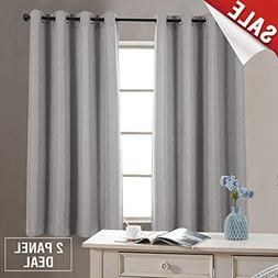 jinchan Faux Linen Grommet Room Darkening Curtains Bedroom L