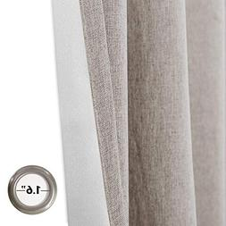jinchan Faux Linen Rod Pocket Room Darkening Curtains Bedroo