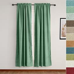 ChadMade Faux Linen Textured Curtains Rod Pocket Drapes for