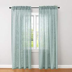 Sheer Curtains 84 inch Linen Textured Voile Drapes Blue Haze