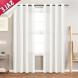 Faux Silk Curtains White 95 inches Long for Bedroom Dupioni