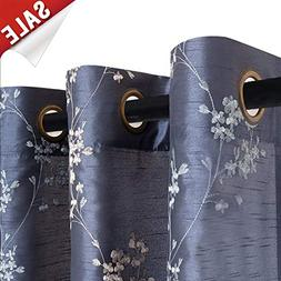 Faux Silk Floral Embroidered Curtains for Bedroom Embroidery