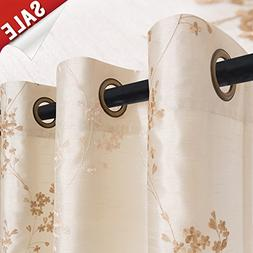 Faux Silk Floral Embroidered Sheer Curtains for Bedroom Embr