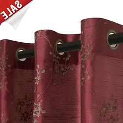 Floral Embroidered Semi Sheer Curtains for Living Room 95 in