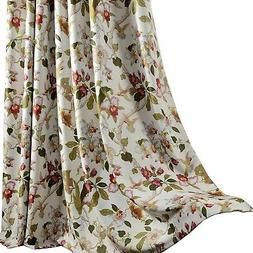 Anady Top Flower Blackout Curtains 96 inch Long 2 Panel Bird