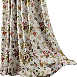 Anady Top Flower Curtain Blackout Bedroom Drapes 2 Panel Bir