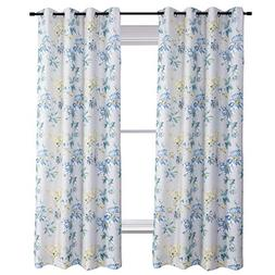 flowers blackout lined curtains teal