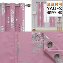 Deconovo Foil Print Floral Thermal Insulated Window Blackout