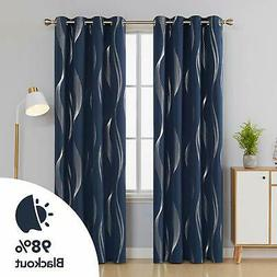 Foil Wave Striped  Blackout Curtain Thermal Insulated Drape