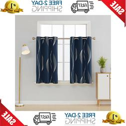 Foil Wave Striped Blackout Curtain Thermal Insulated Drape f