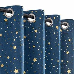 jinchan Girls Blackout Window Curtains for Bedroom Starry