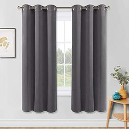 PONY DANCE Gray Blackout Curtains - Solid Thermal Insulated