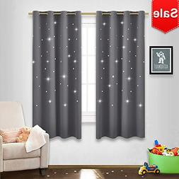 NICETOWN Gray Stars Kids Curtains - Naptime Essential Nurser