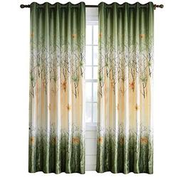 Green Maple Leaf Tree Curtains - Anady 2 Panel Grommet Top C